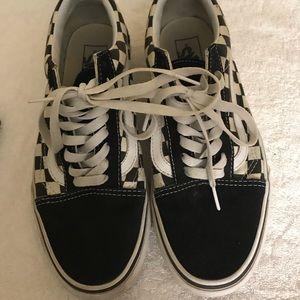 Checked Black Vans Skateboarding Shoes